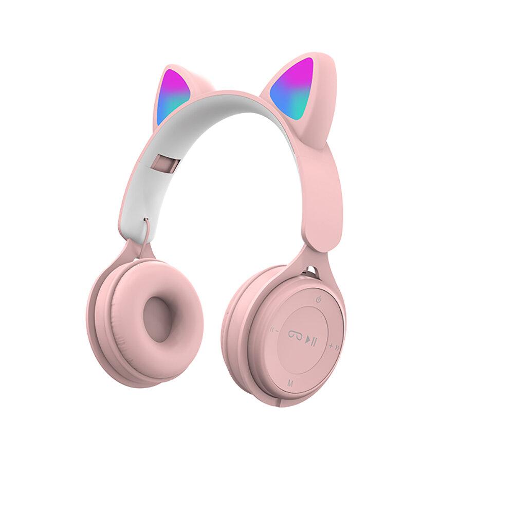 SOMIC DR-08 Розовый Colorful Кот Уши Bluetooth-наушники с микрофоном, радужный свет HIFI Звук, складывающийся аудио / TF