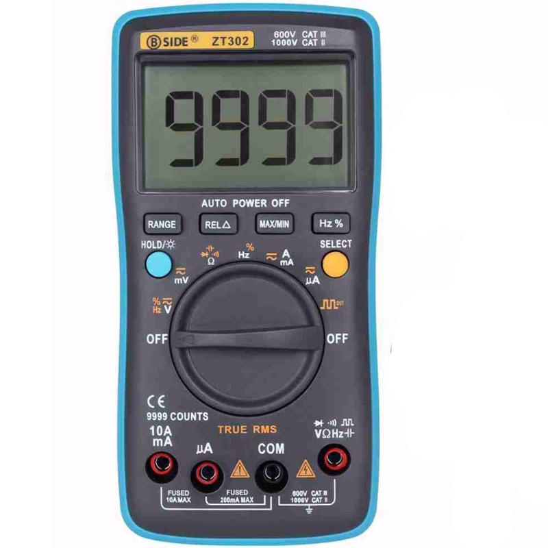 BSIDE ZT302 Digital Multimeter True RMS 9999 Counts LED Backlight AC DC Voltage Current Resistance Capacitance Frequency Tester Square Wave Output