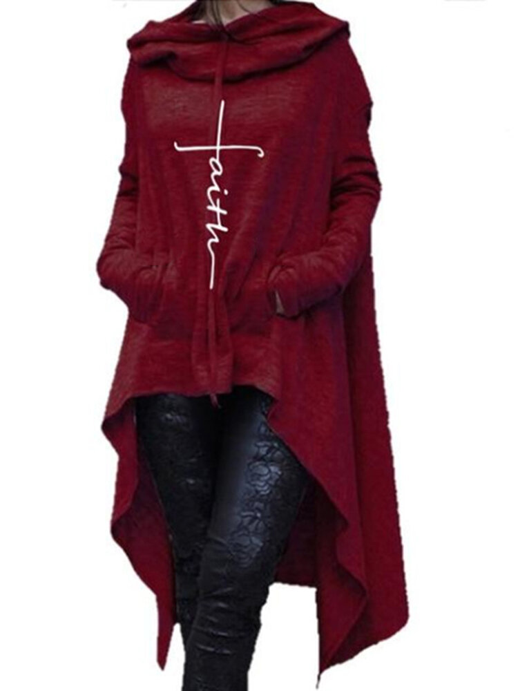 Women Casual Solid Color Hooded Irregular Hem Sweatshirt