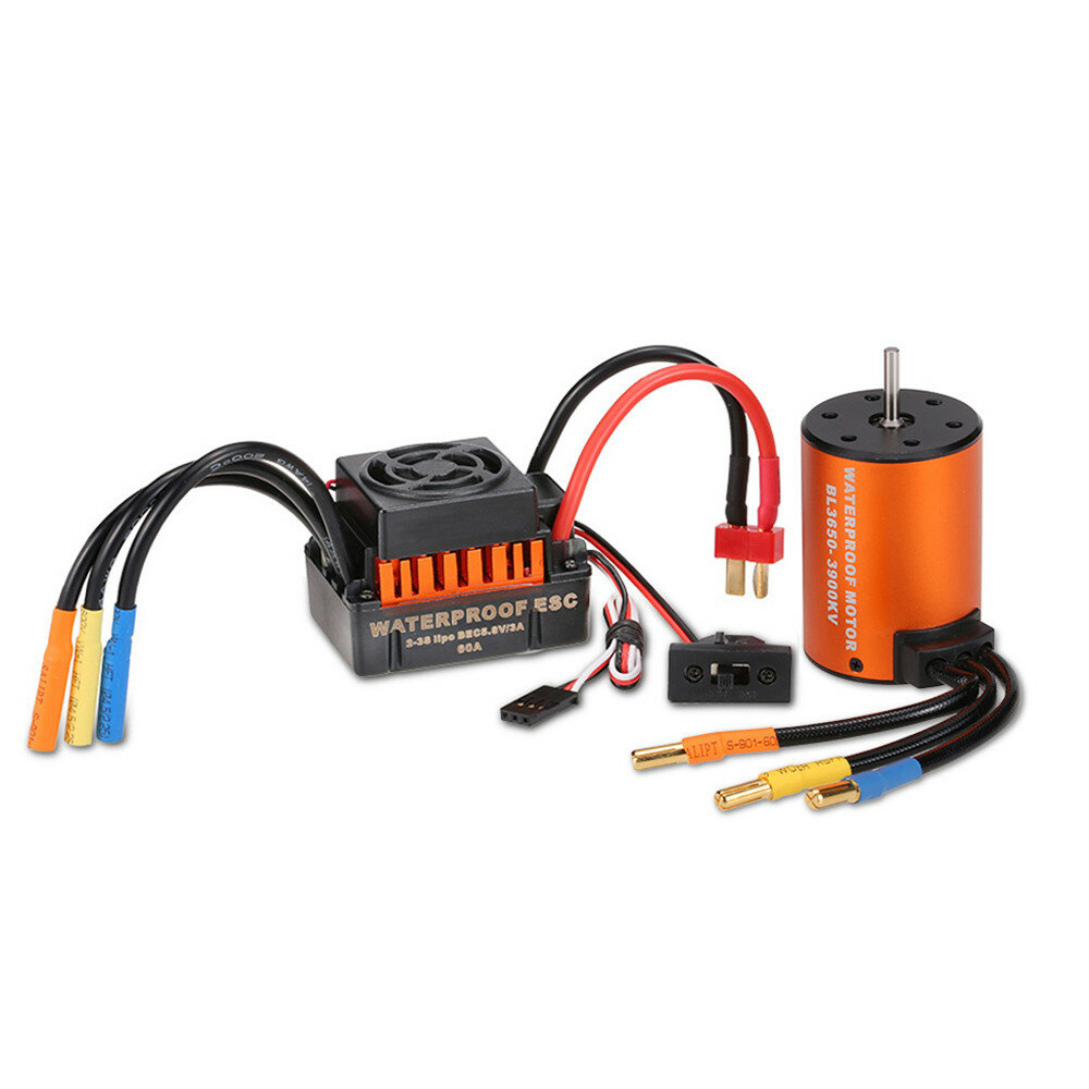 Surpass Hobby Waterproof 3650 3900KV Brushless RC Car Motor With 60A ESC Set For 1/10 RC Car