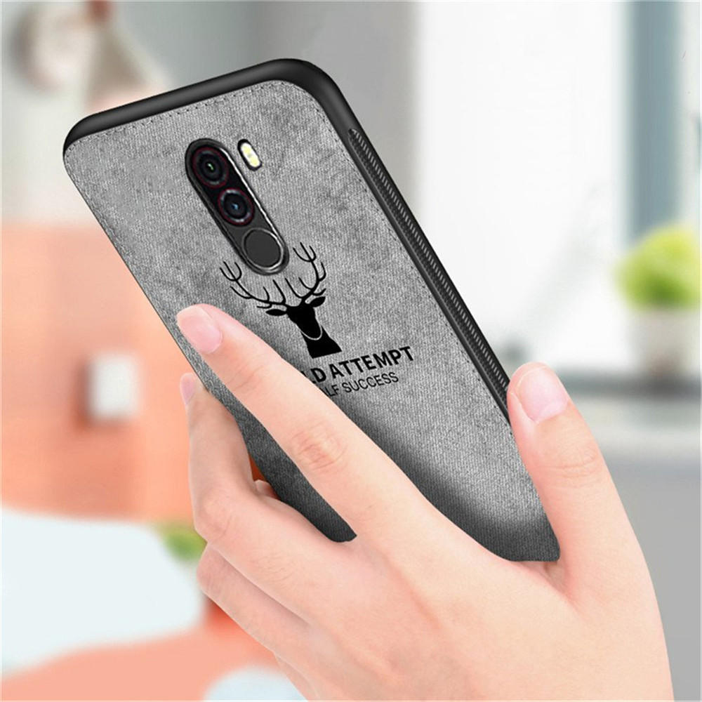 online store 8f88a b0cbb Bakeey™ Deer Pattern Shockproof Cloth + Soft TPU Back Cover Protective Case  for Xiaomi Pocophone F1