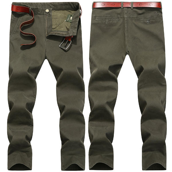 पुरुषों आरामदायक आरामदायक पैर ठोस रंग कपास स्लिम फिट पैंट आकार 30-40