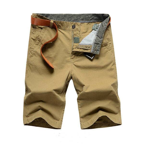 Summer Mens Cotton Shorts Casual Solid Color Beach Straight Shorts