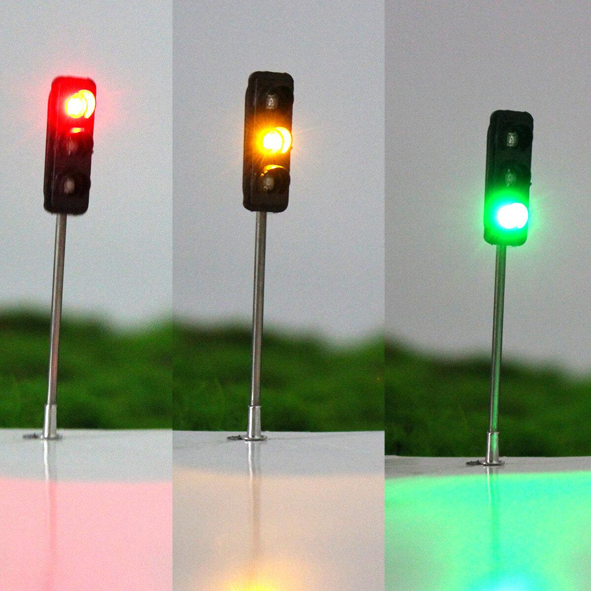 3Pcs 50mm DIY Model 3-Light Traffic Lights Signal Architecture Street Train