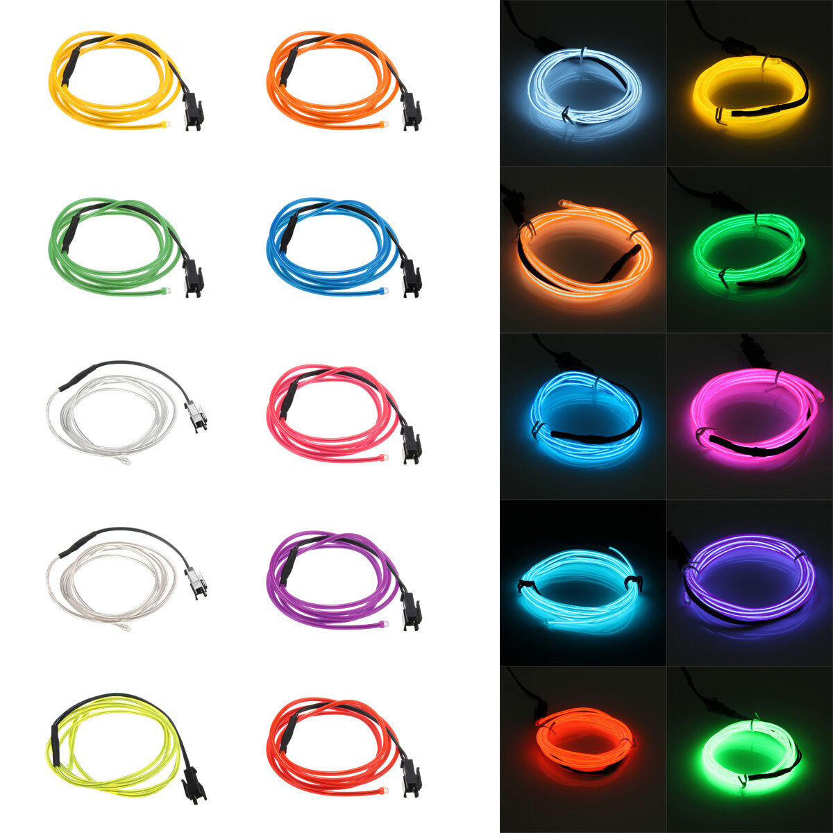 1M 10 colors 3V Flexible Neon EL Wire Light Dance Party Decor Light Battery Powered Controller