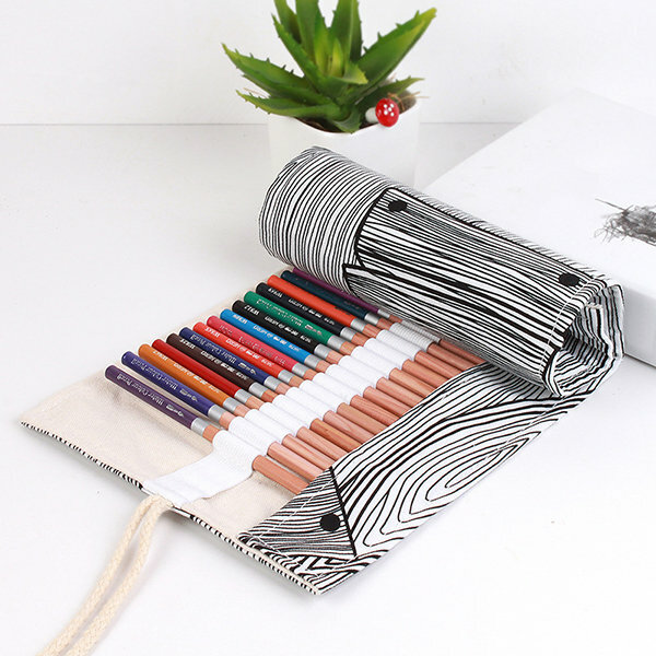 Canvas School Creative Striped Growth Ring Pencil Case Roll Up Pen Brushes Storage Bag