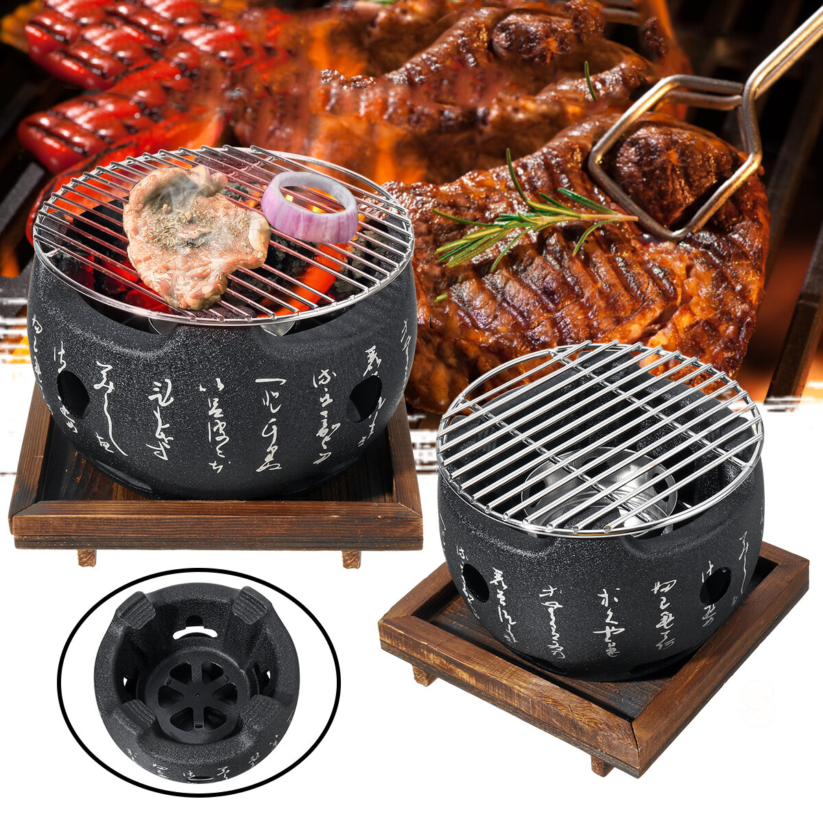Image of Japanese Style BBQ Grill Charcoal Grill Aluminium Alloy Portable Barbecue Tools