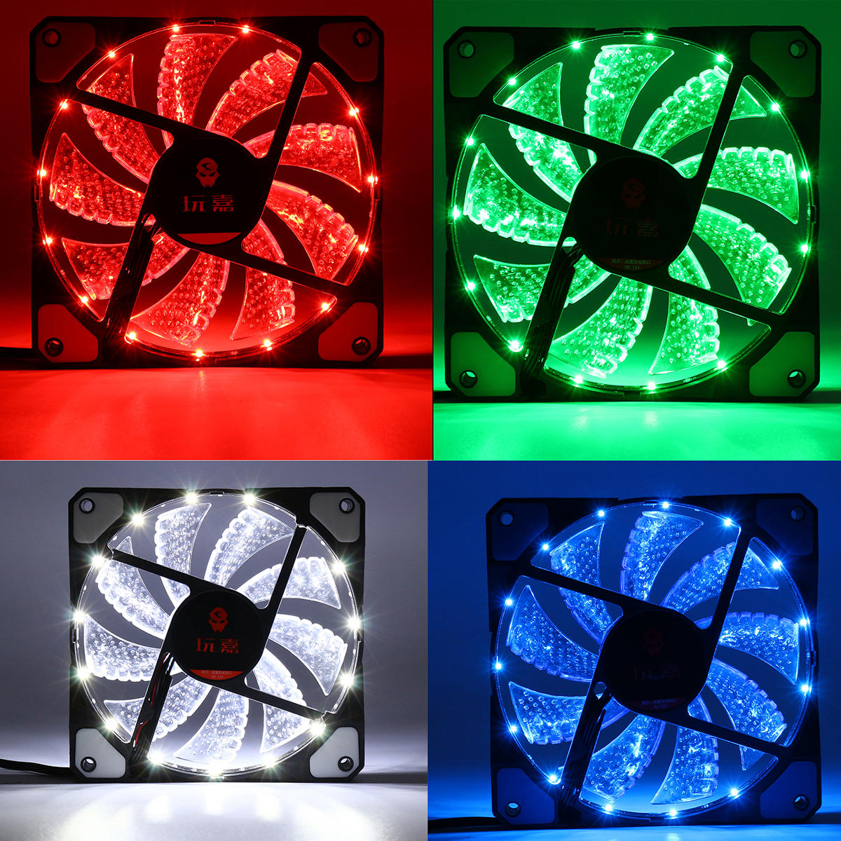 4 Pin 120mm PC Computer Clear Case Cooling Fan 15-LED RGB Light Mute CPU Cooler