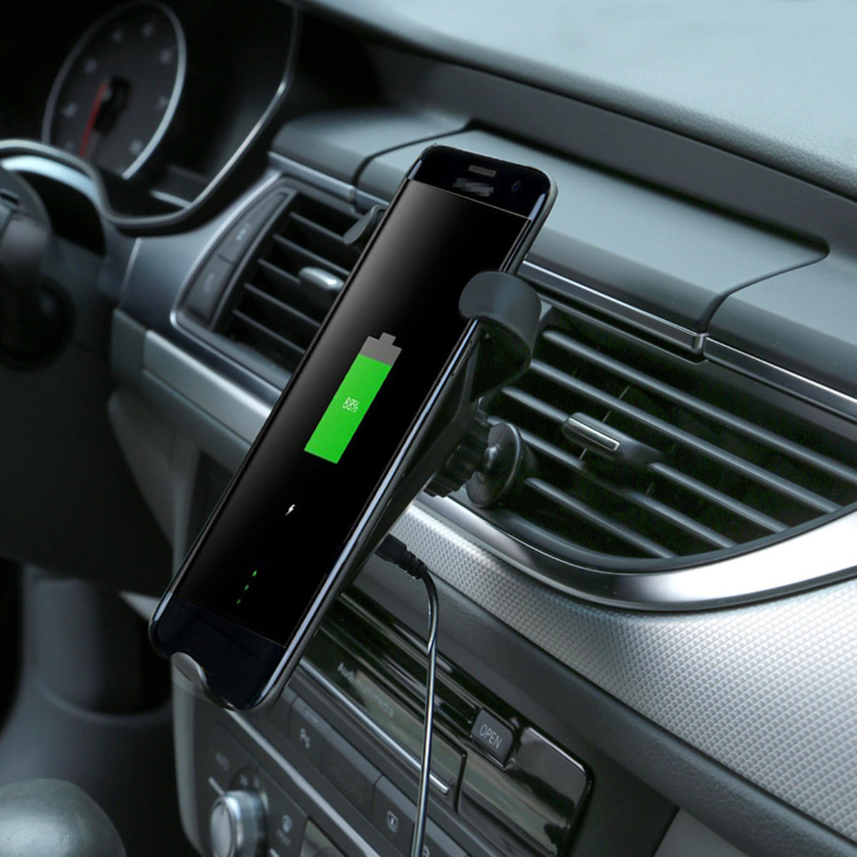 Qi 10W Car Gravity Wireless Fast Charger Phone Holder Dashboard Air Vent Mount Bracket for iPhone XR
