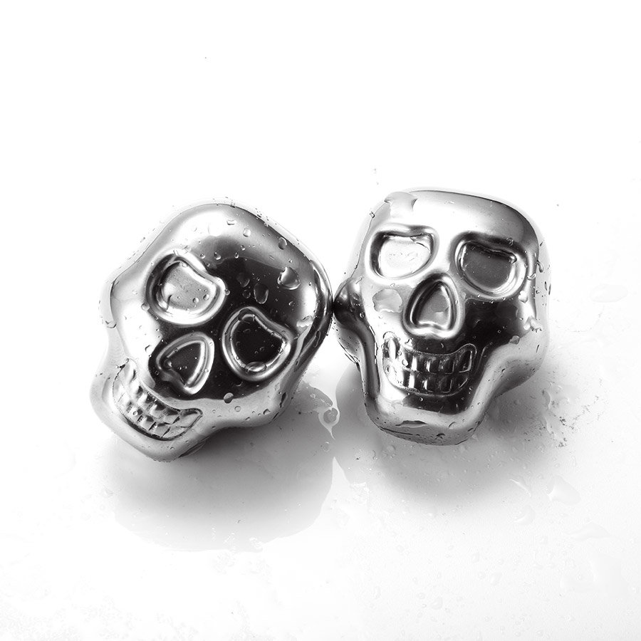 KCASA KC-ICW10 Whiskey Stone Set Reusable Food Grade Stainless Steel Wine Cooling Cube 2 Skulls