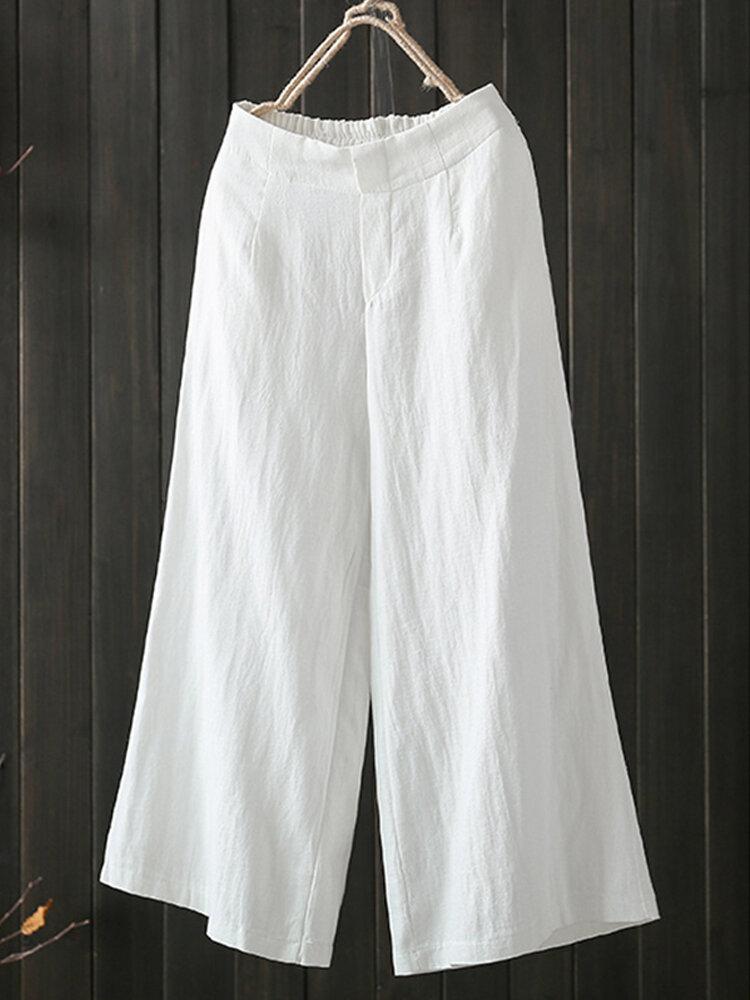 Women High Elastic Waist Loose Cotton Wide Leg Pants with Pockets