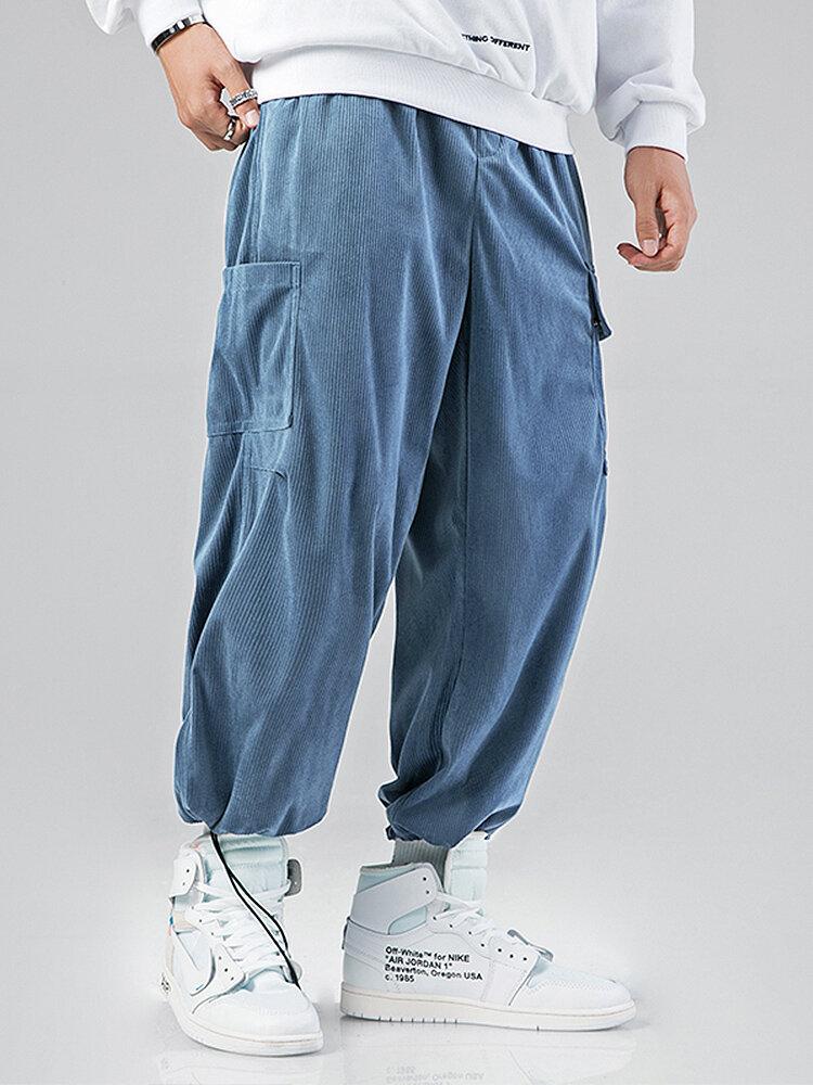 Mens Corduroy Solid Color Multi Pocket Drawstring Elastic Waist Cargo jogger Pants