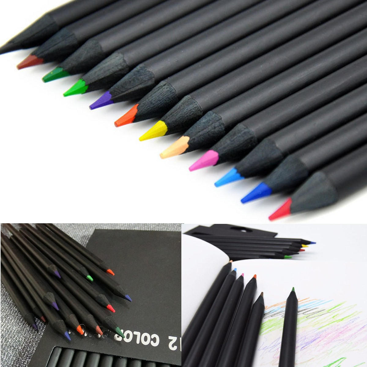 12 colors wooden drawing charcoal pencils black soft painting sketch fine art pencil