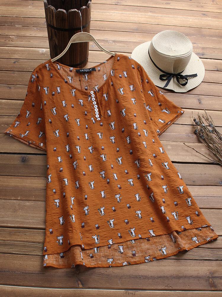 Casual Women Asymmetrical Plain Short Sleeve Cat Print O-neck T-shirts