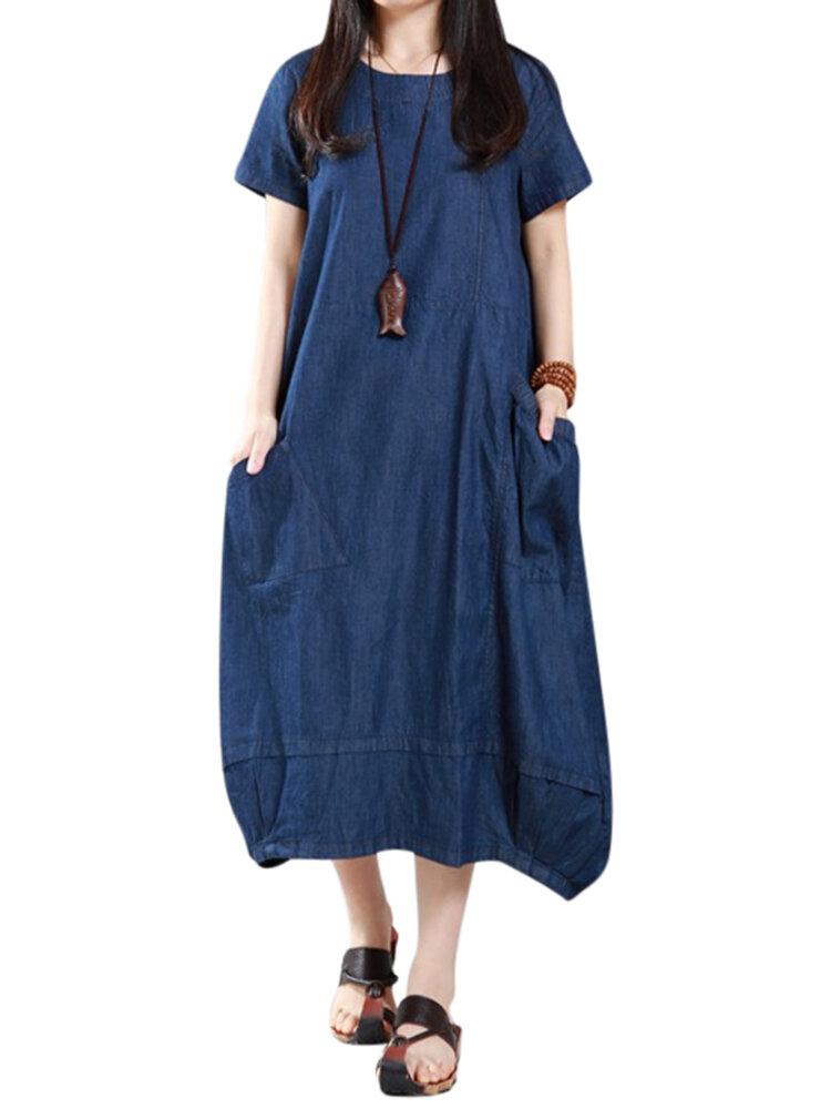 Casual Women Loose Denim Kieszenie Latarnia Maxi Dress