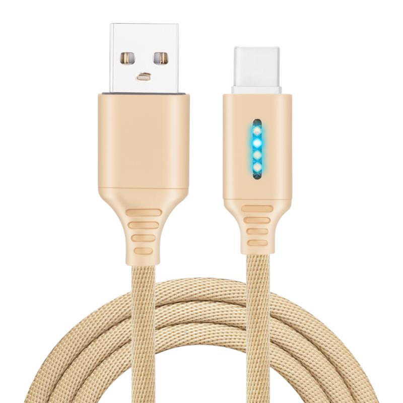 Smart LED Auto Disconnect Charger Nylon Braided Type C 2A Tablet Cable-1M