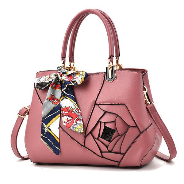 Women Elegant Flower Pattern Scarves Handbag PU Leather Shoulder Bags Crossbody Bag
