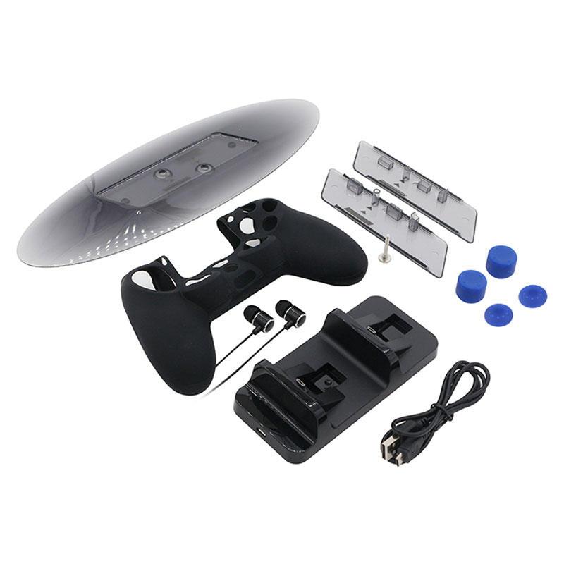 Hantera Silikon Rocker Cover Vertikal Stativ Spelkonsol Kit med Hörlurar för PS4 Slim Pro Series