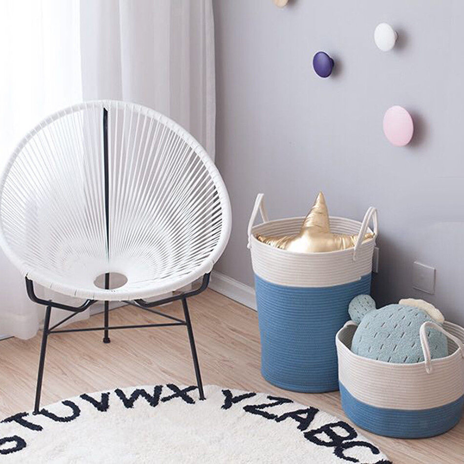 Cotton Rope Storage Basket Baby Laundry Basket Woven Baskets with Handle фото