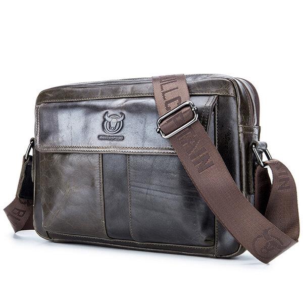 Bullcaptain Wax Oil Cow Leather Retro Business Briefcase Crossbody Shoulder Bag