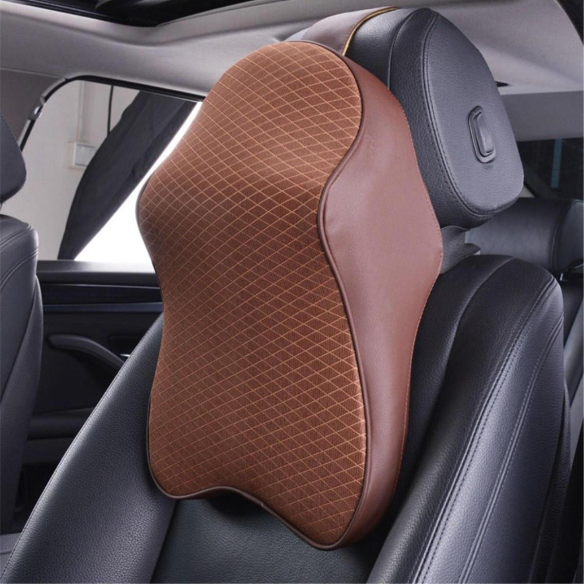 Black Long Travel Pillow for Car Seat Headrest Comfortable Computer Chair Head Cushion Timorn Memory Foam Car Headrest Cushion Neck Support Pillow