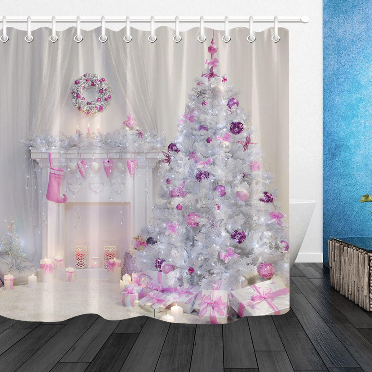 Christmas Tree Interior Xmas Fireplace In Pink Decorated Indoors Shower Curtain Bathroom Sets With Mat Bathroom Fabric For Bathtub Decor