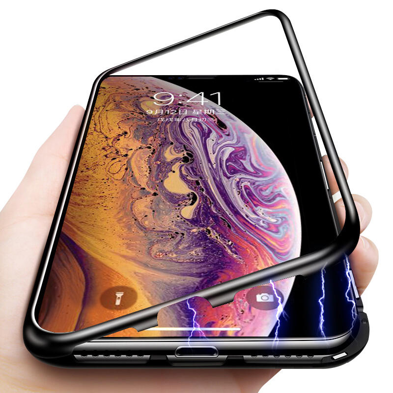 super popular 1b3a0 80f6c Bakeey Protective Case for iPhone XS Max Magnetic Adsorption Metal Bumper +  9H Tempered Glass Back Cover