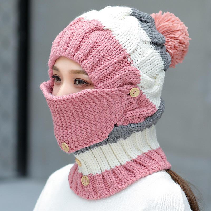 5bd439d9 Women Winter Windproof Warm Plus Velvet Knit Hat Scarf Set with Face Mask  Thicken Ski Earmuffs Cap - Khaki COD
