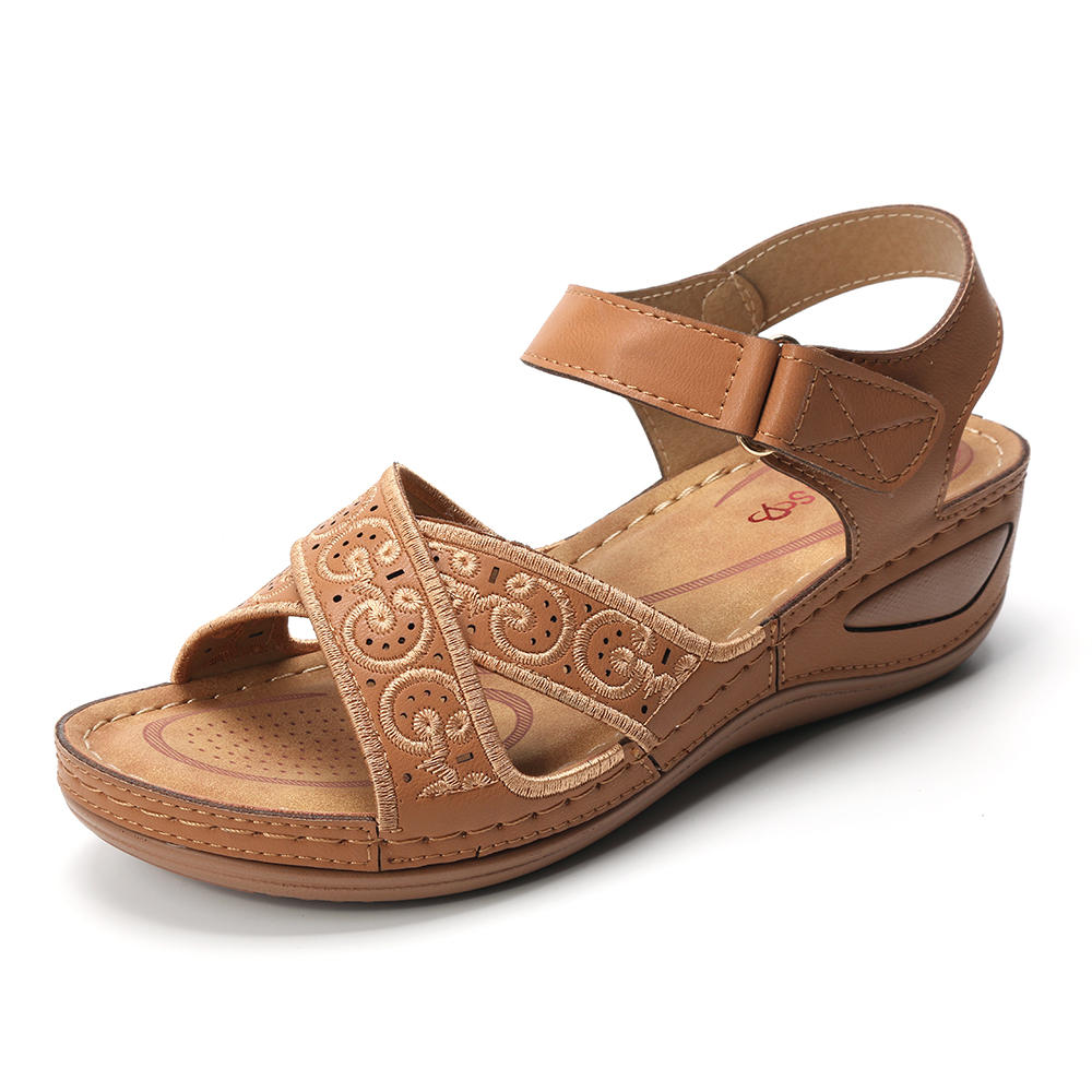 Lostisy Large Size Women Comfy Hollow Out  Hook Loop Sandals
