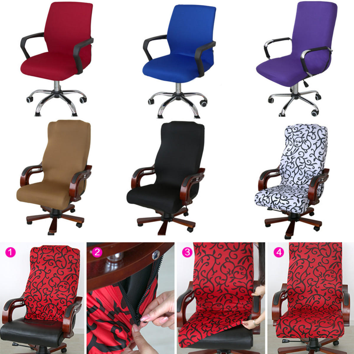 S/M/L Office Computer Chair Cover Side Zipper Design Arm Chair Cover Recouvre Chaise Stretch Rotating Lift Chair Cover