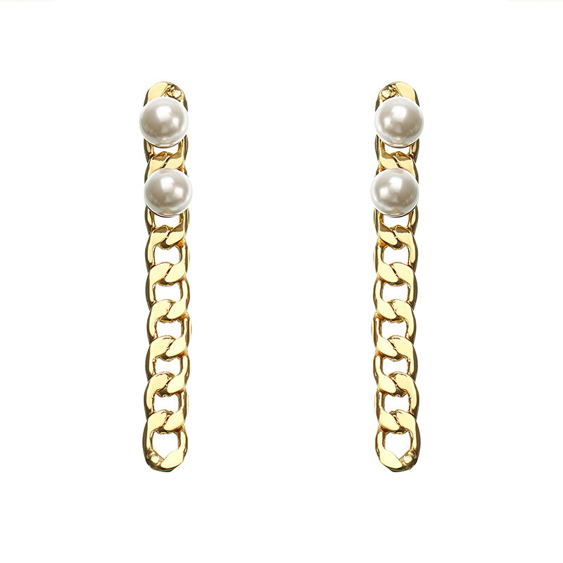 JASSY® Stylish Link Chain Earring Long 18K Gold Plated Pearl Ear Drop Gift for Women