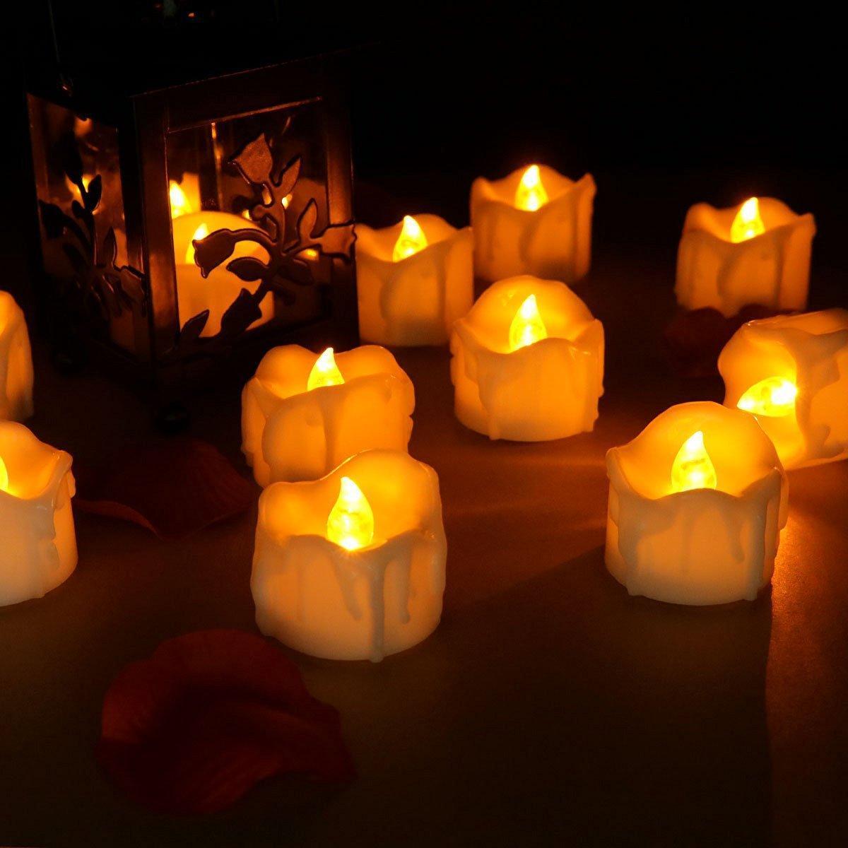 12 Cái / Lô Led Vàng Flicker Drop Tearight Nến Tealight Điện tử Nến không lửa Nến lãng mạn Nến rực lửa Tealight cho đám cưới