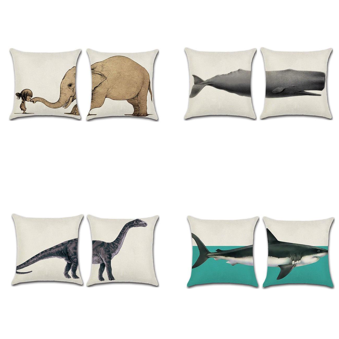 Elephant Shark Whale Dinosaur Cushion Cover Cotton Linen Pillow Case Throw Wedding Decor Pillowcase