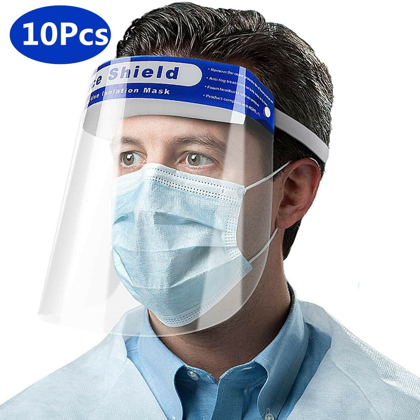 US Safety Full Face Shield Adjustable Anti-Fog Protective Face Cover Transparent