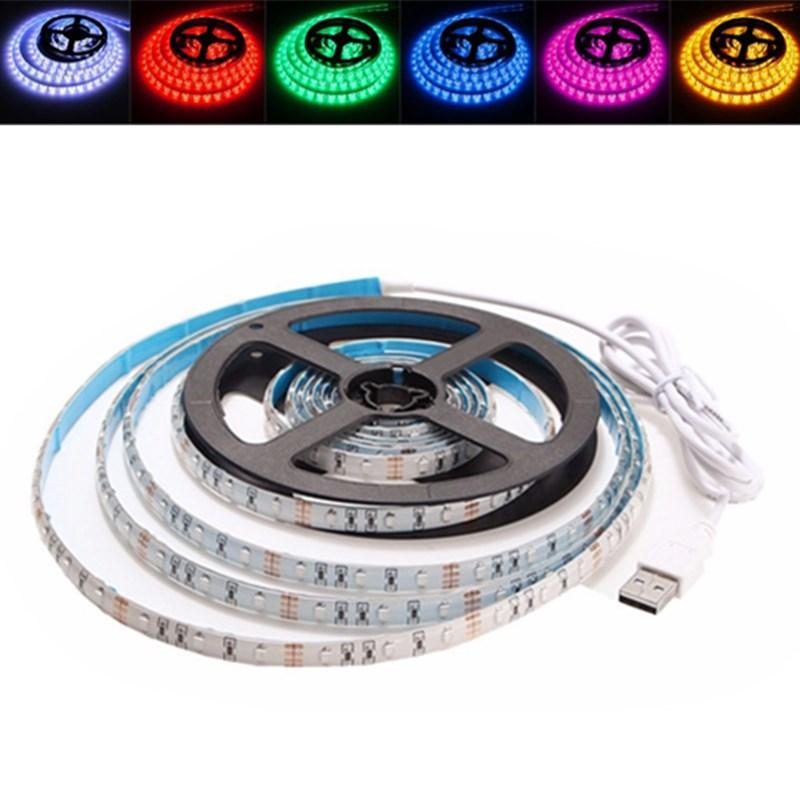 3M Non-Waterproof USB SMD3528 TV Background Computer LED Strip Tape Flexible Light DC5V, Banggood  - buy with discount