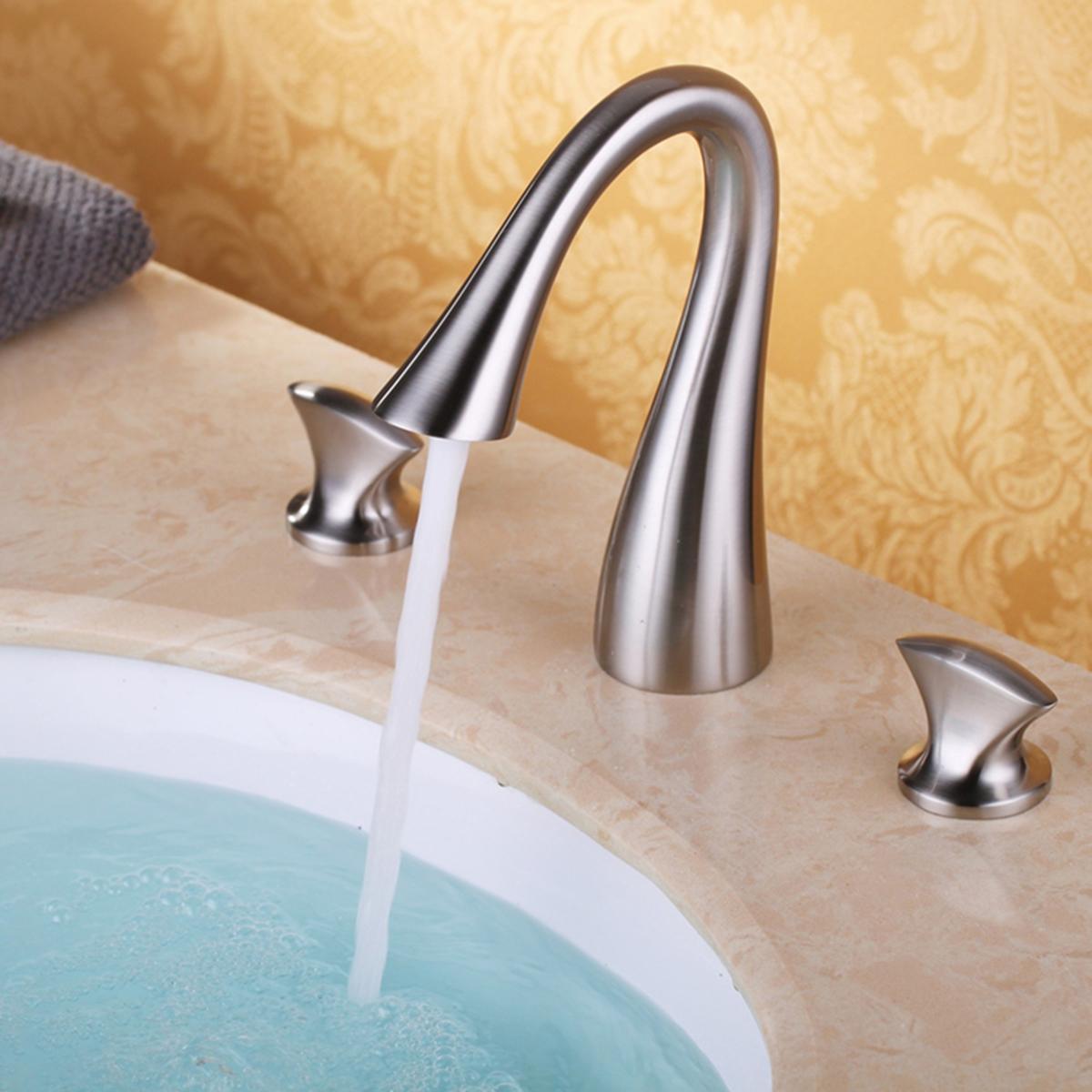 Luxury Bathroom Widespread Sink Faucet 3 Hole Mixer Tap Single