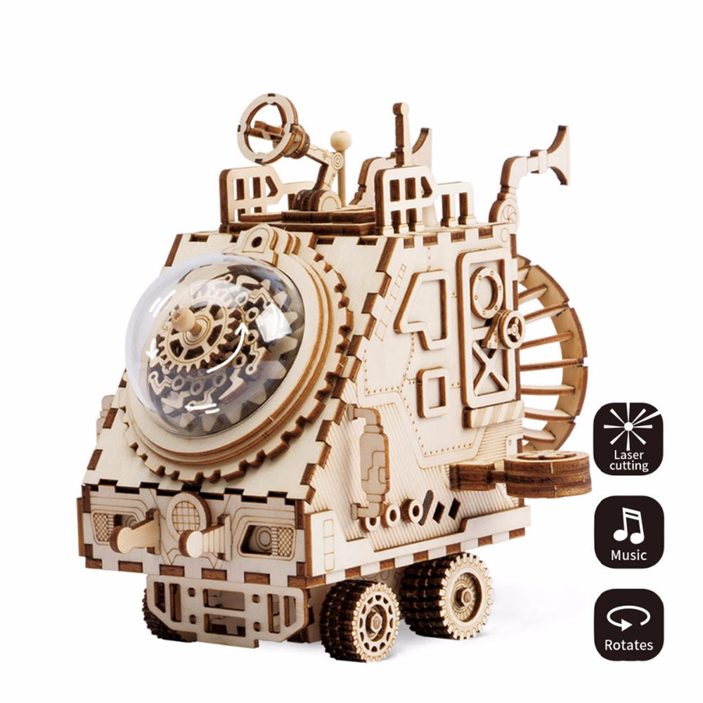 DIY 3D Wooden Chip Puzzle Music Box Toys for Kids DIY Crafts Ornament