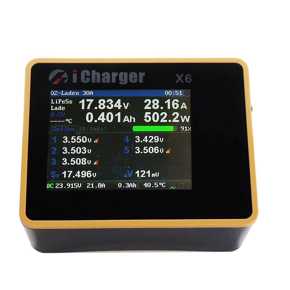 iCharger X6 800W 30A DC LCD Screen Smart Battery Balance Charger Discharger