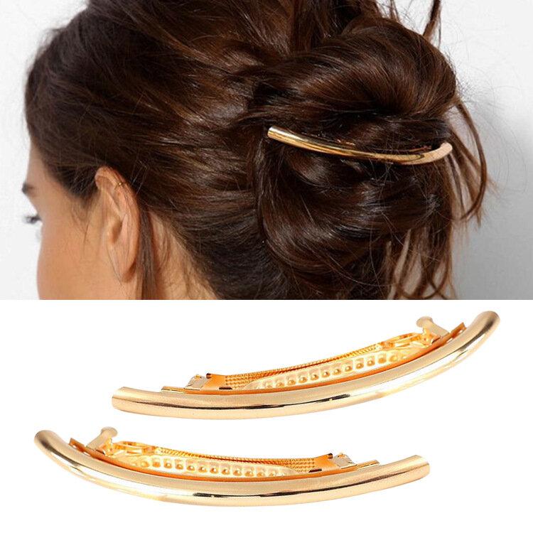महिलाओं के लिए ट्रेंडी हेयर क्लिप्स मिश्र धातु मानसिक चांदी सोने वक्र सरल बाल सहायक उपकरण