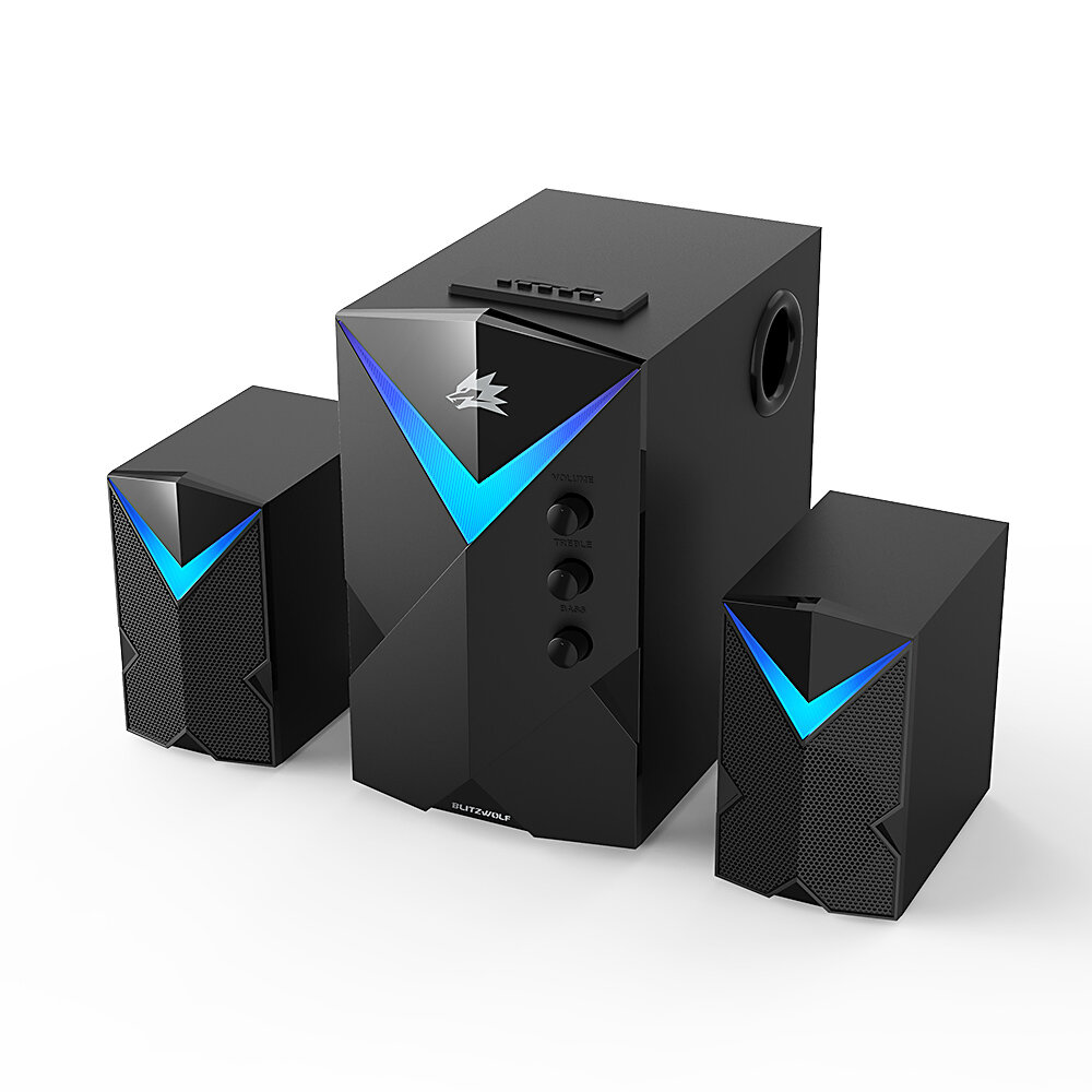 BlitzWolf BW-GT2 Computer Speaker 20W with 2.1 Channel Combination Speakers Powerful Bass Dazzling Light bluetooth Version Multiple Connections - Black