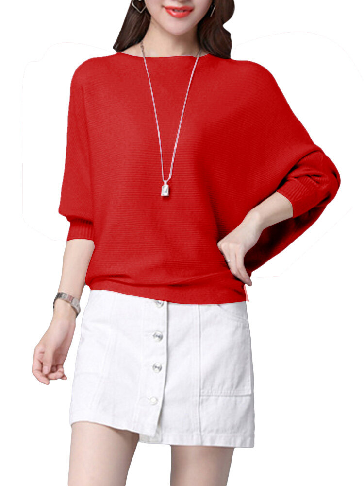 Elegant Women O-Neck Batwing Sleeve Pure Color Pullover Slim Sweater