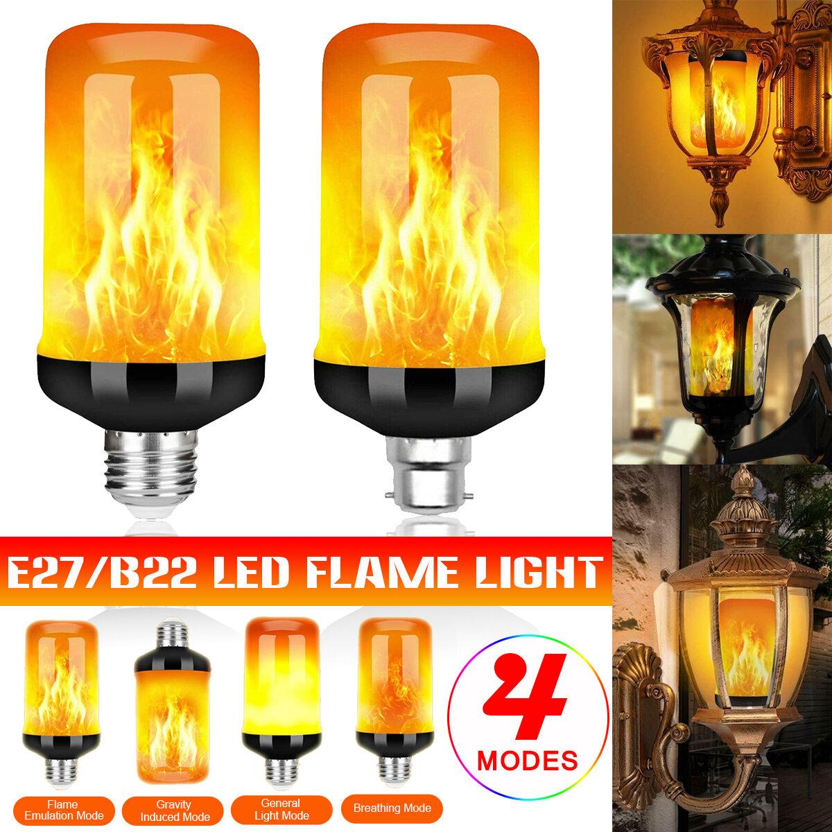 E27 B22 5W LED Flicker Flame Light Bulb 4 Modes Burning Fire Effect Gravity Sensor Lamp AC85-265V