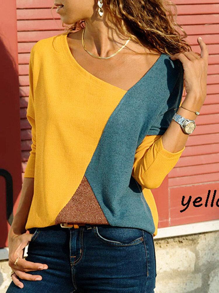 S-5XL Casual Women Color Patchwork Asymmetrical Collar Long Sleeve Blouse