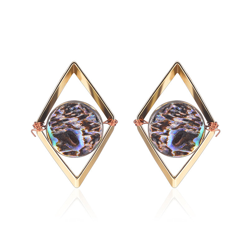 Fashion 18k Gold Plated Unique Design Punk Colorful Natural Stone Ear Stud Women Earrings Best Gift Cod