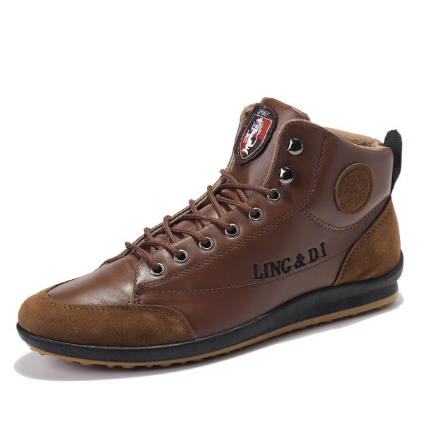 ee71b156f7adf Comfy Men Casual Leather High Top Sneakers Ankle Boots Lace Up Shoes ...