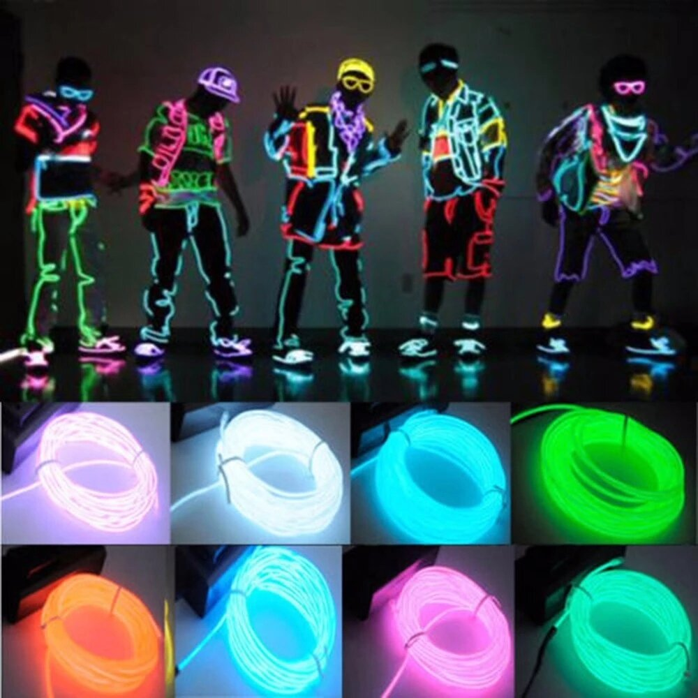 3/5m Glow EL Wire Neon LED Strip Light Auto Flexible Rope Tube Sewable Tagled Lamp Dance Party Car Decor