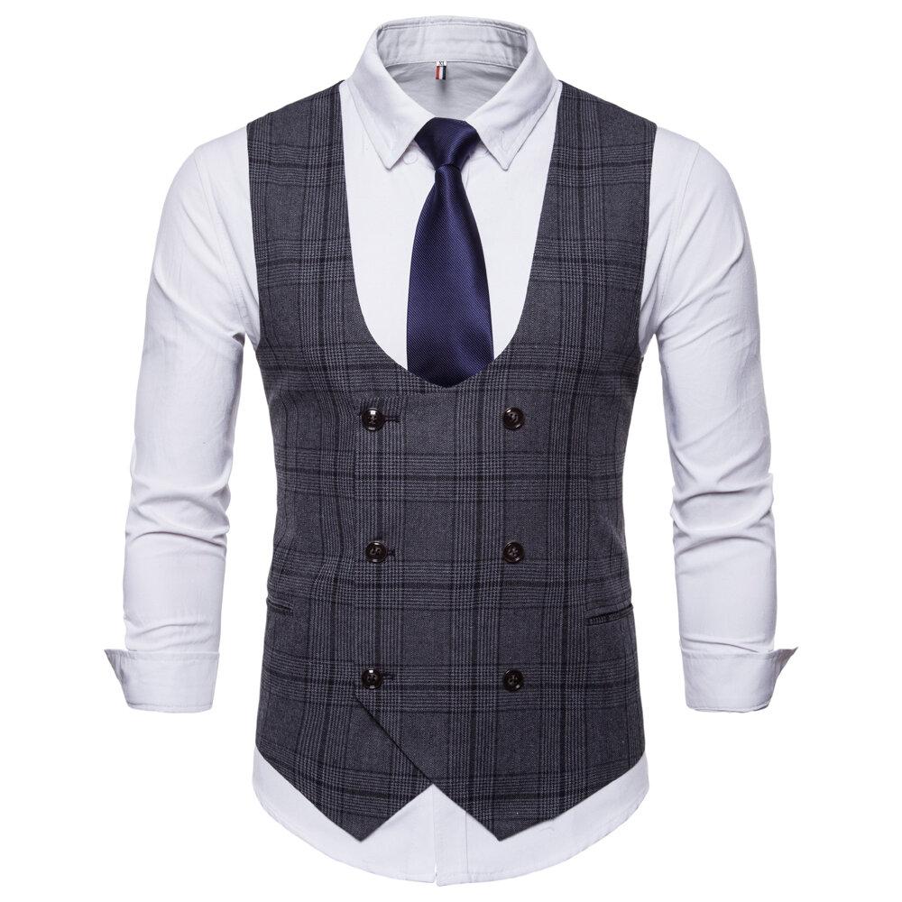 Fashion Business Plaid Waistcoat Suit Vest for Men фото