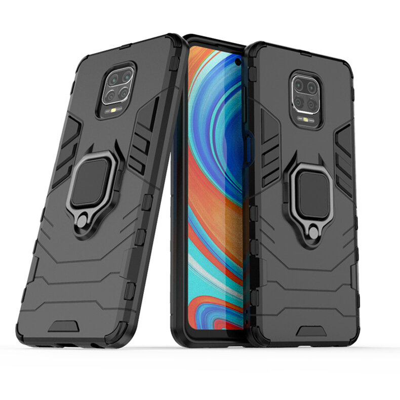 Bakeey Armor Shockproof Magnetic with 360 Rotation Finger Ring Holder Stand PC Protective Case for Xiaomi Redmi Note 9S