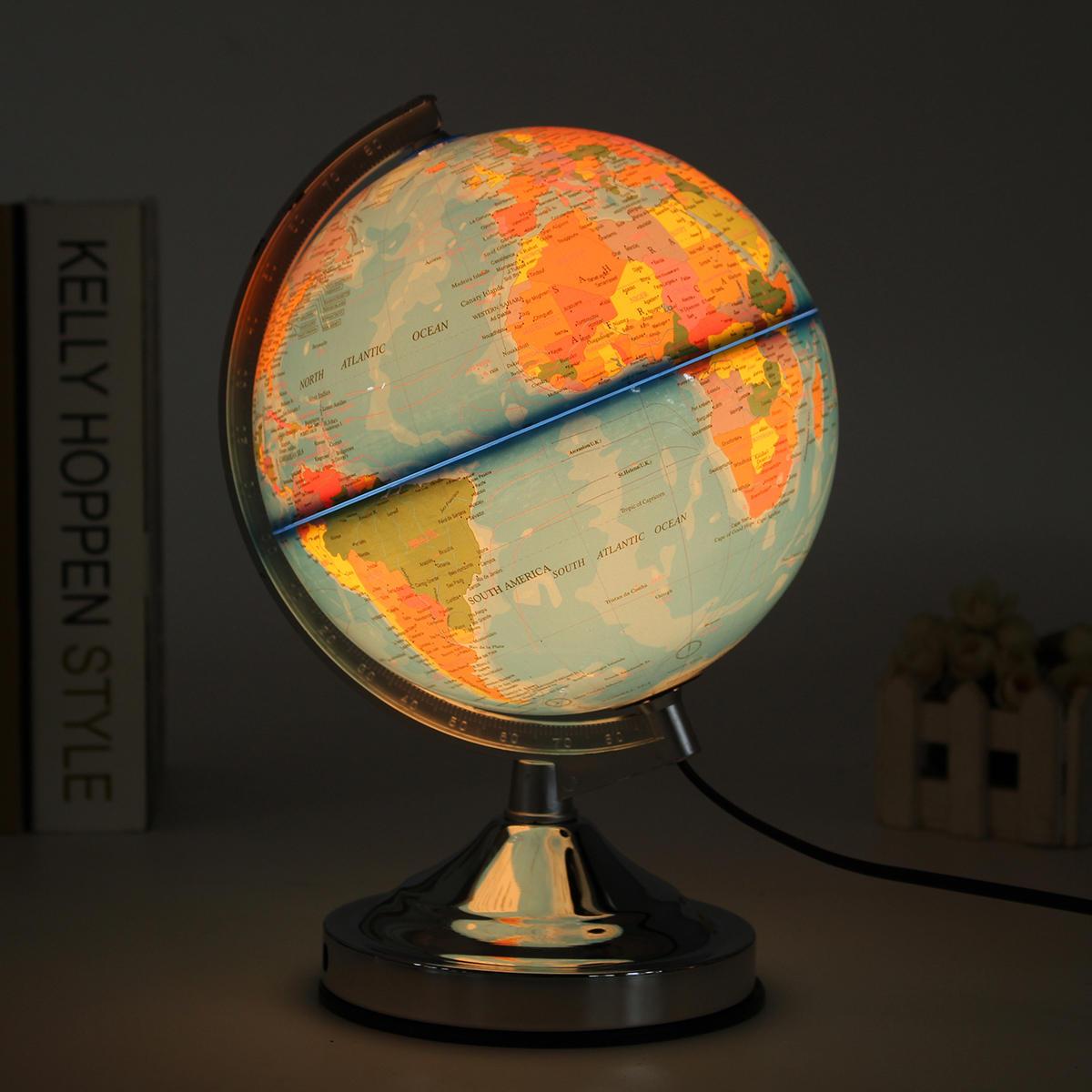 Eletrônico iluminado azul oceano mundo globo terrestre girando luz noturna desktop decoração