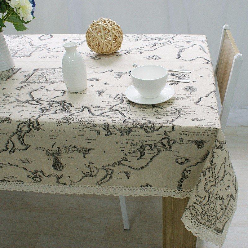 Bản đồ thế giới Khăn trải bàn chất lượng cao Khăn trải bàn trang trí Khăn trải bàn trang nhã Khăn trải bàn
